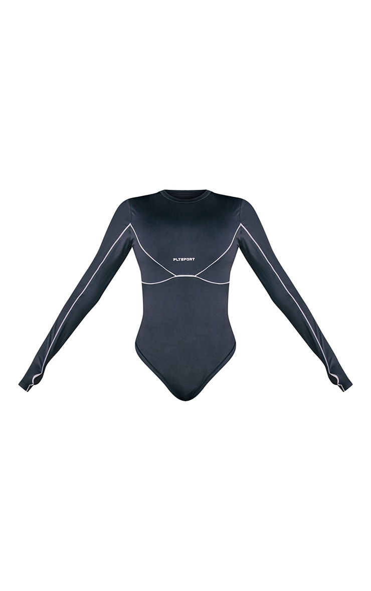 PRETTYLITTLETHING Black Long Sleeve Gym Bodysuit 6