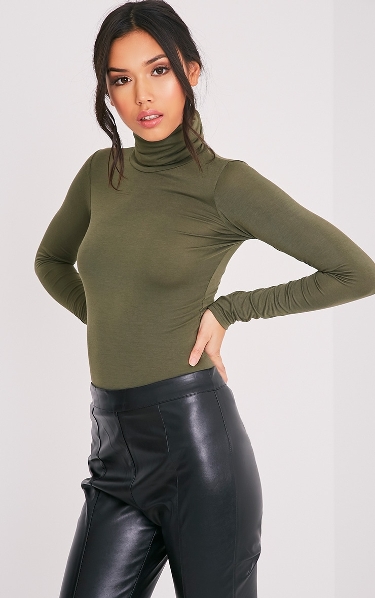 Basic Khaki Long Sleeve Roll Neck Top 1