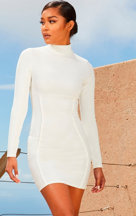White Second Skin High Neck Binding Detail Bodycon Dress 1