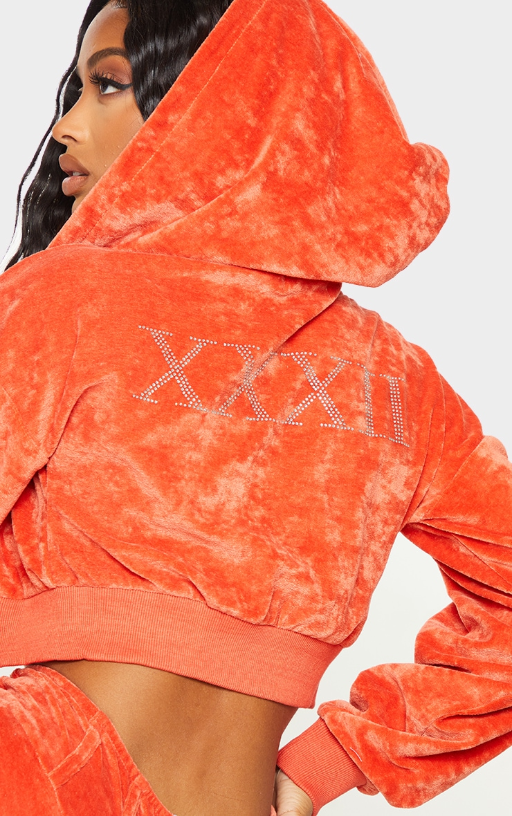 Shape Orange Velour Diamante Graphic Cropped Hooded Zip Sweatshirt 4