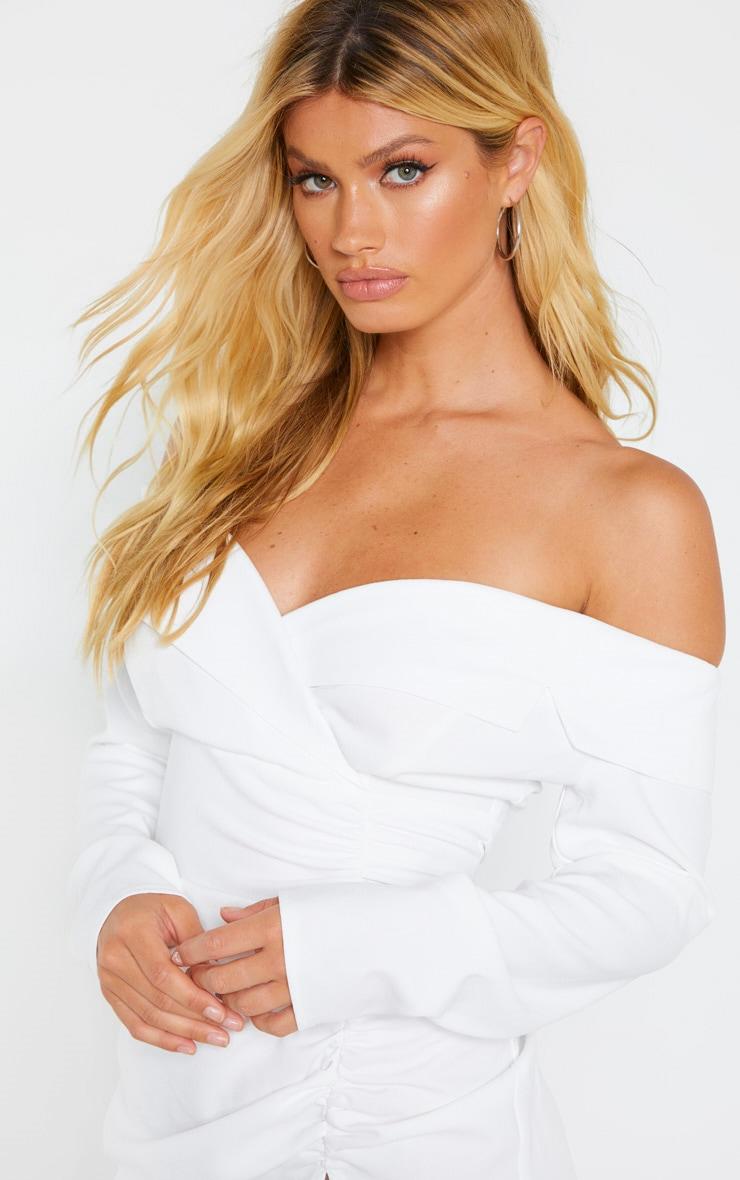 White Bardot Ruched Detail Blazer Style Dress 5