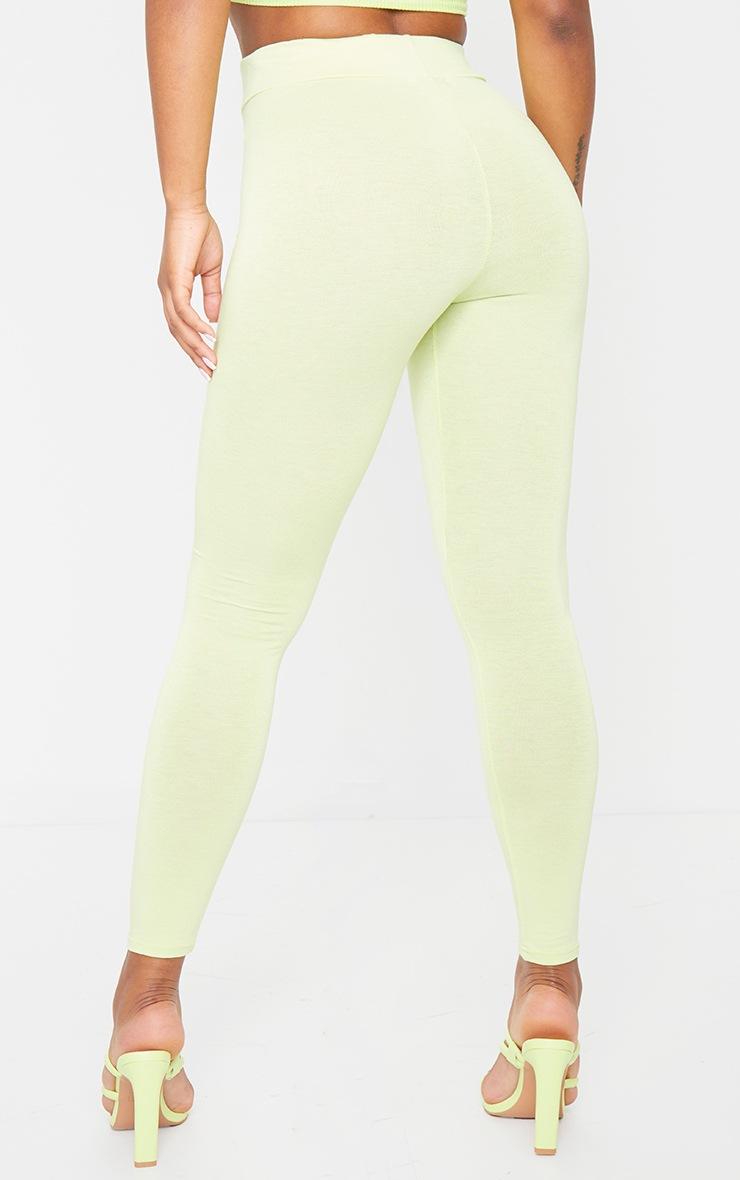 Pale Lime Basic High Waisted Jersey Leggings 3