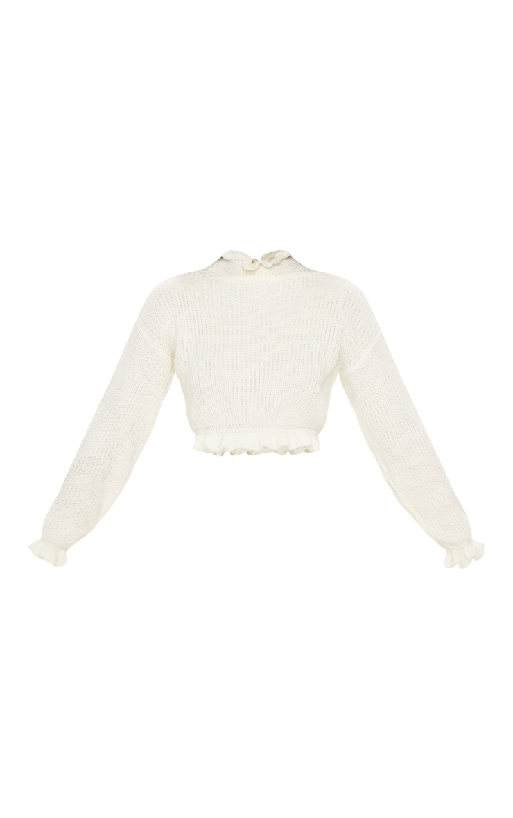 Ivory Knit High Neck Ruffle Trim Crop Jumper 3