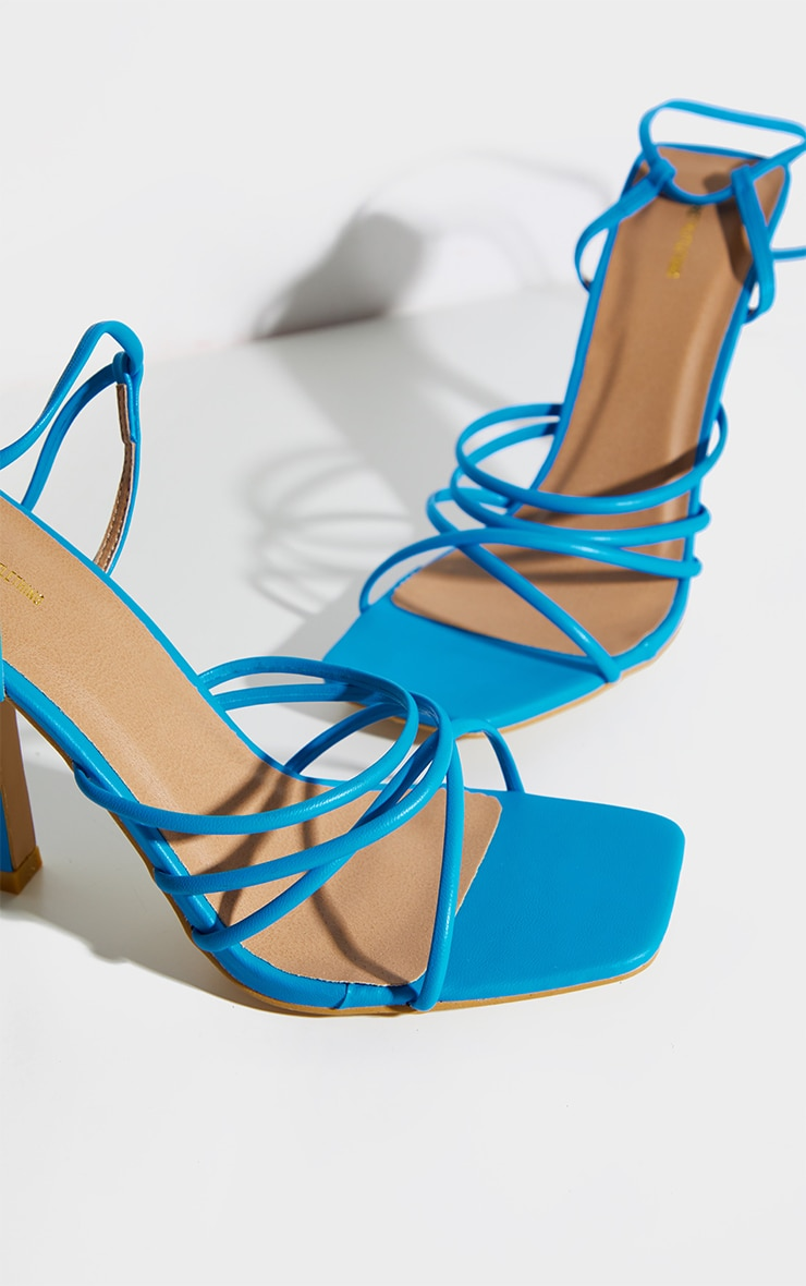 Bright Blue Squared Strappy Heels 3