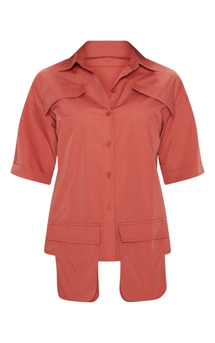 Burnt Orange Cargo Pocket Short Sleeve Shirt 3
