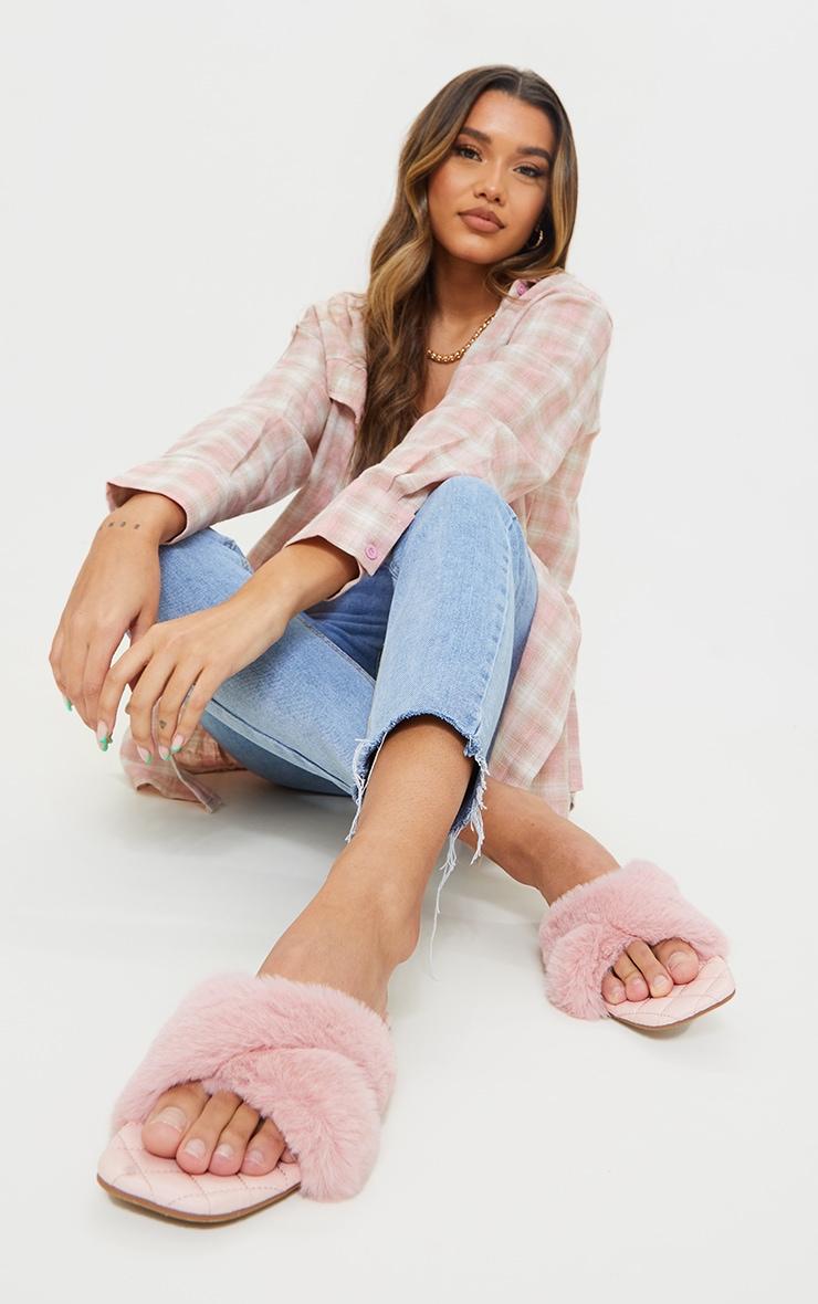 Pink Faux Fur Cross Strap Square Toe Sandals 1