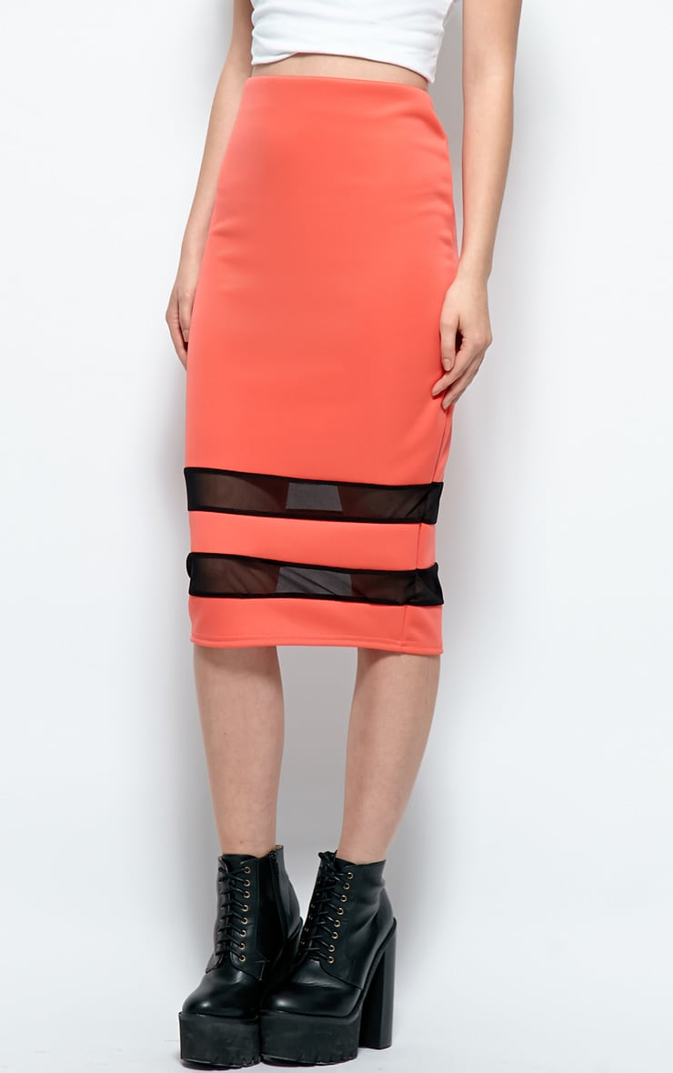 Cassandra Coral Mesh Panel Midi Skirt 4