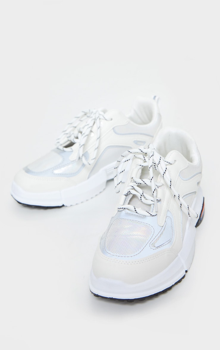 White Chunky Reflective Panelling Sneakers 4