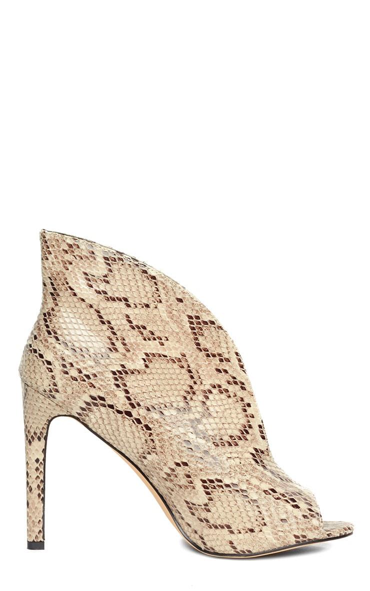 Jazmina Snake Effect Open Front Heels 4