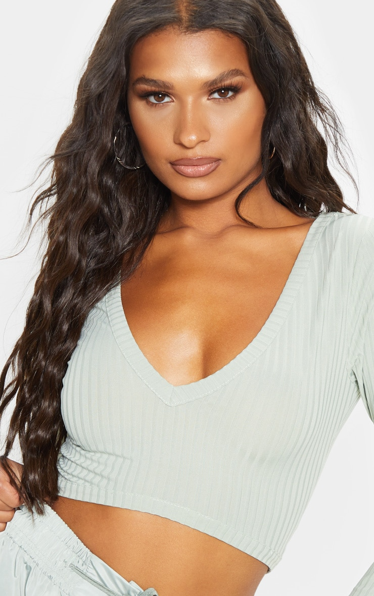 Sage Khaki Rib V Plunge Long Sleeve Crop Top 5