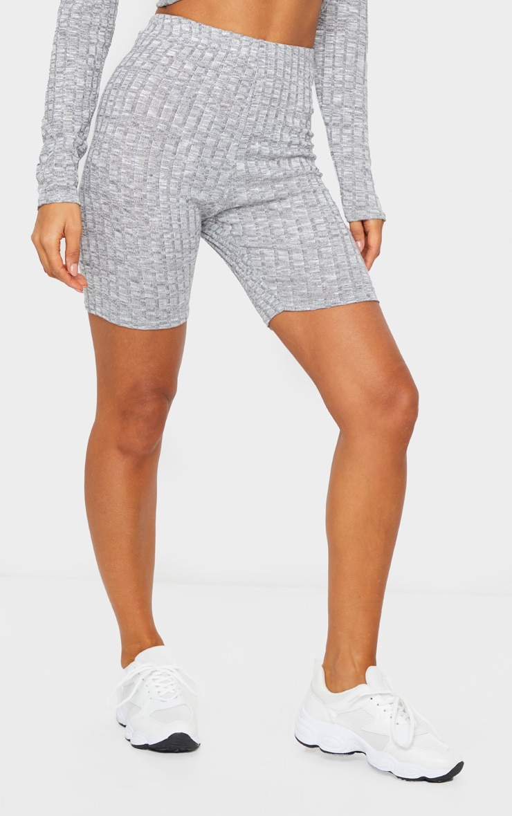 Grey Ribbed Knitted Bike Shorts 2