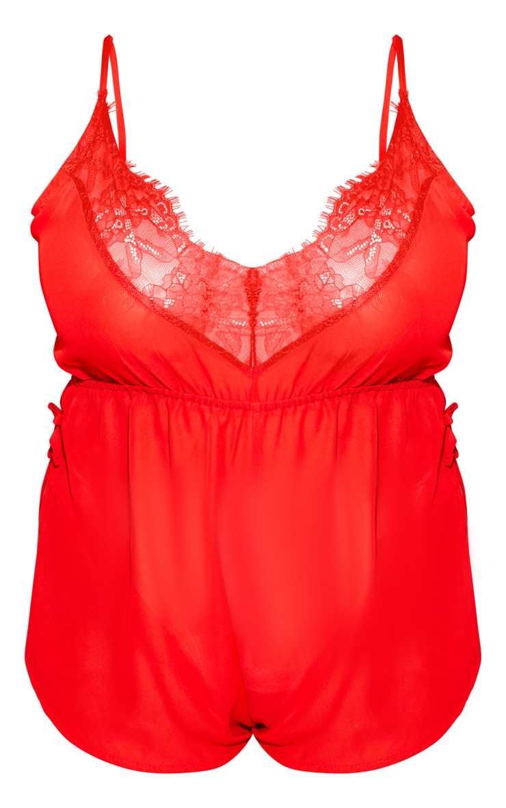 Plus Red Chiffon Teddy  3