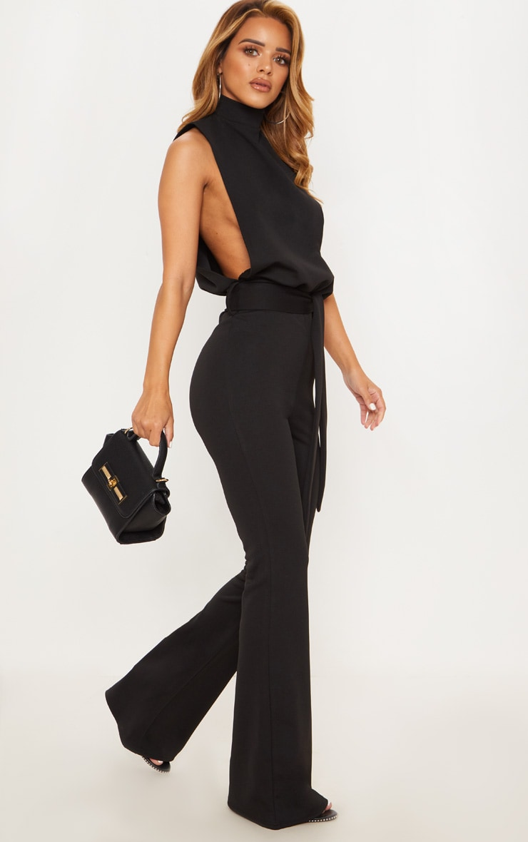 Petite Black Scuba High Neck Tie Waist Jumpsuit 1