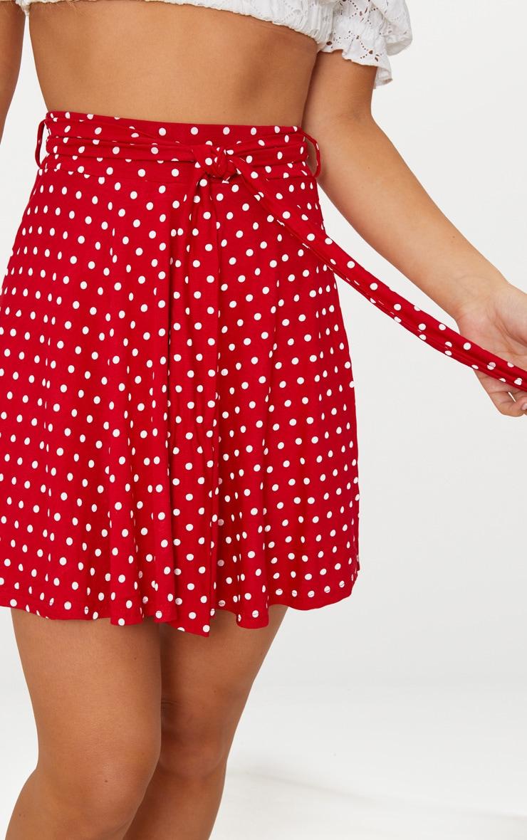 Red Jersey Polkadot Tie Waist Skirt 6