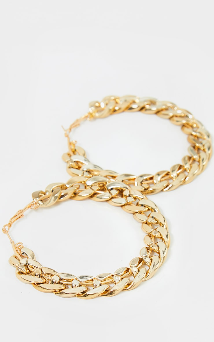 Gold Chain Link Hoop Earrings 2