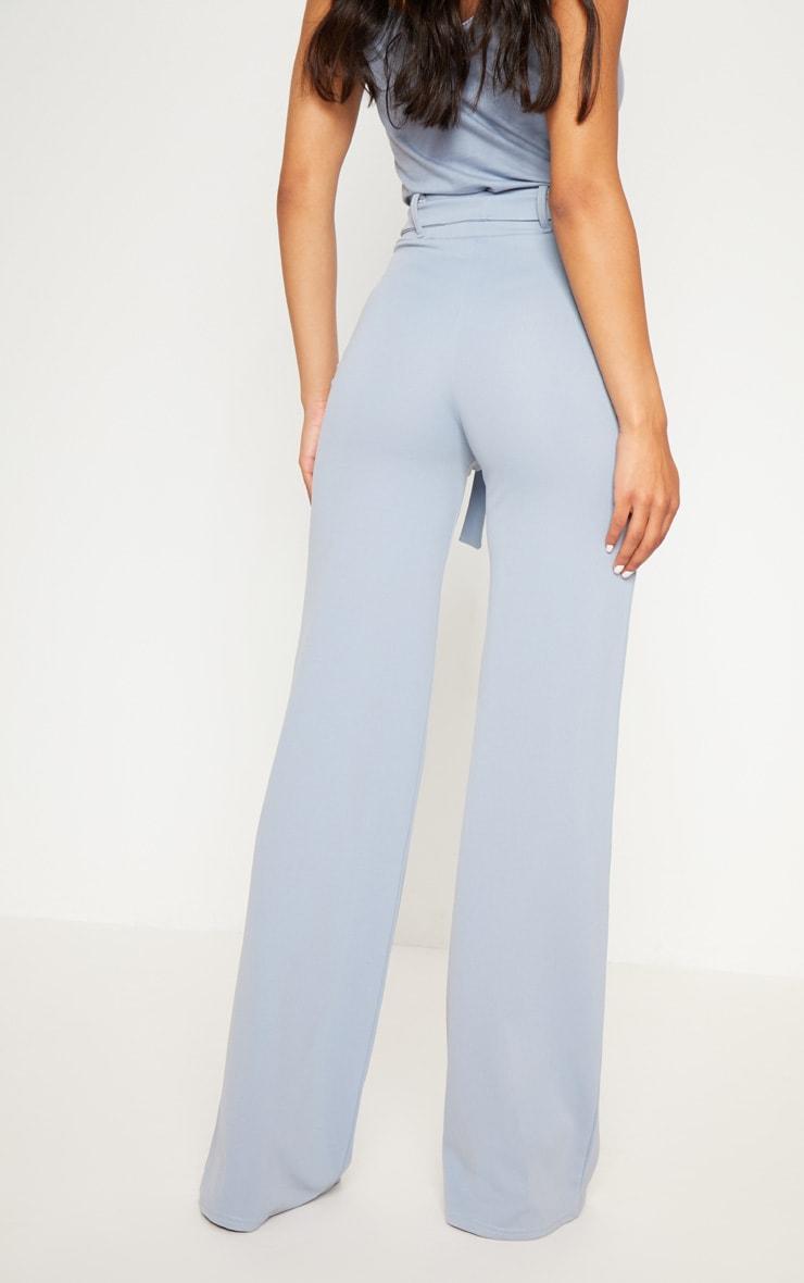Dusty Blue Tie Waist Wide Leg Trouser 4