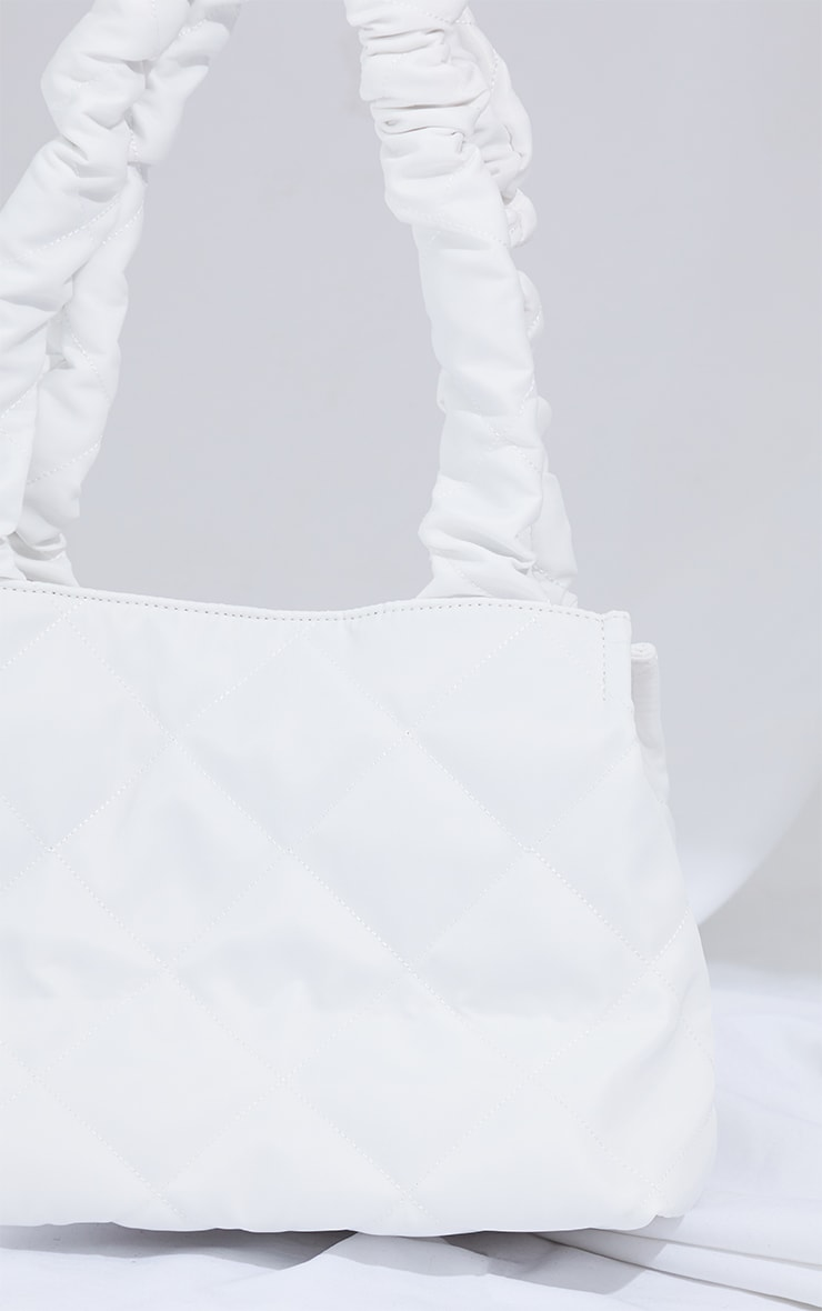 White Ruched Oversized Tote Bag 3