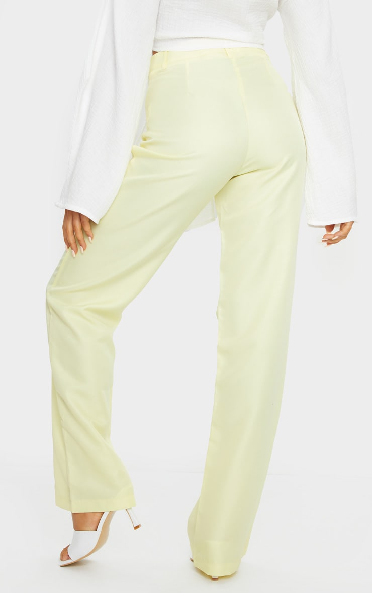 Pale Yellow Anala High Waisted Straight Leg Pants 3
