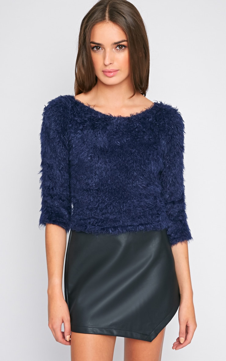 Jess Navy Fluffy Jumper 4