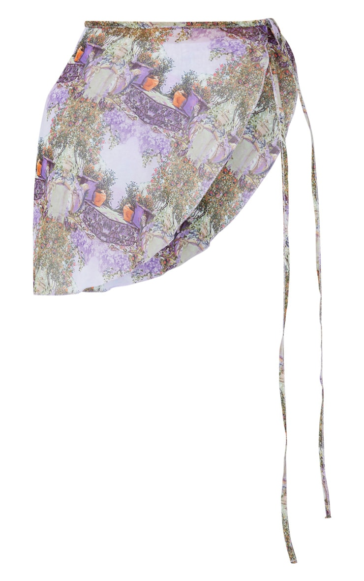 Purple Garden Scene Mini Tie Side Chiffon Sarong 5