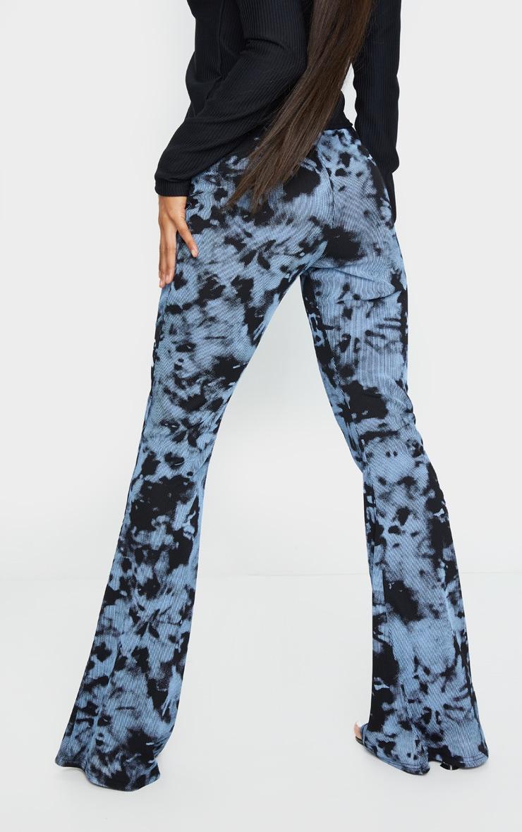 Steel Blue Tie Dye Ribbed Flared Trousers 3
