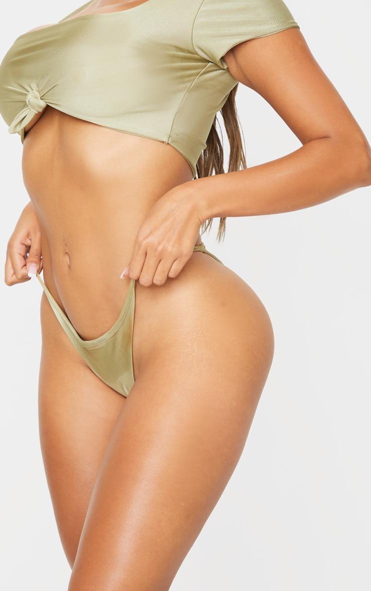 Shape Olive Strappy Thong Bikini Bottom 5
