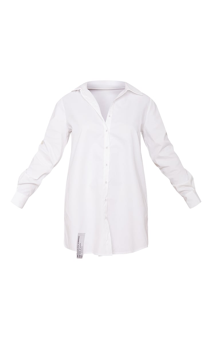 PRETTYLITTLETHING - Robe chemise blanche à détail ourlet 5