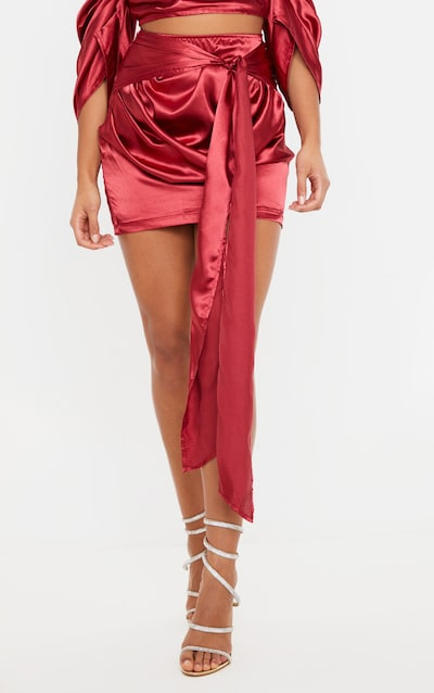 Scarlet Satin Woven Ruched Side Tie Detail Mini Skirt