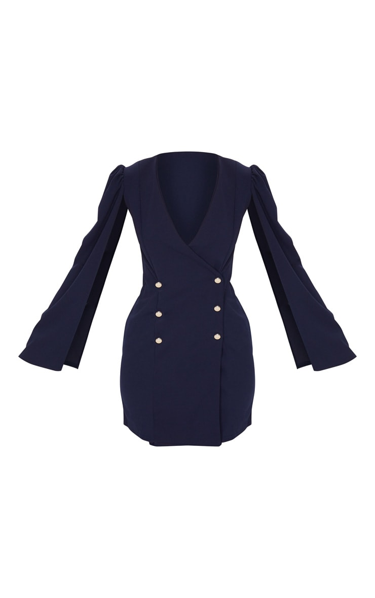 Navy Cape Button Detail Blazer Dress 5