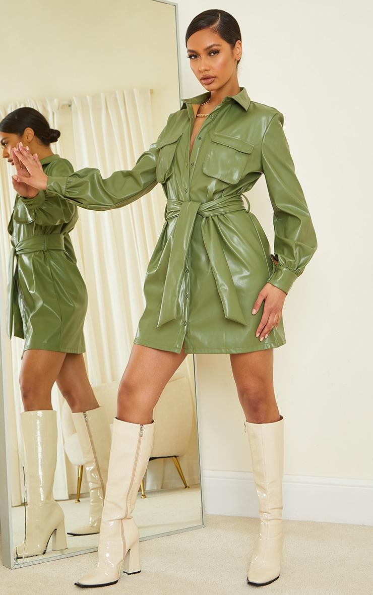 Khaki Faux Leather Pocket Detail Shirt Dress 3