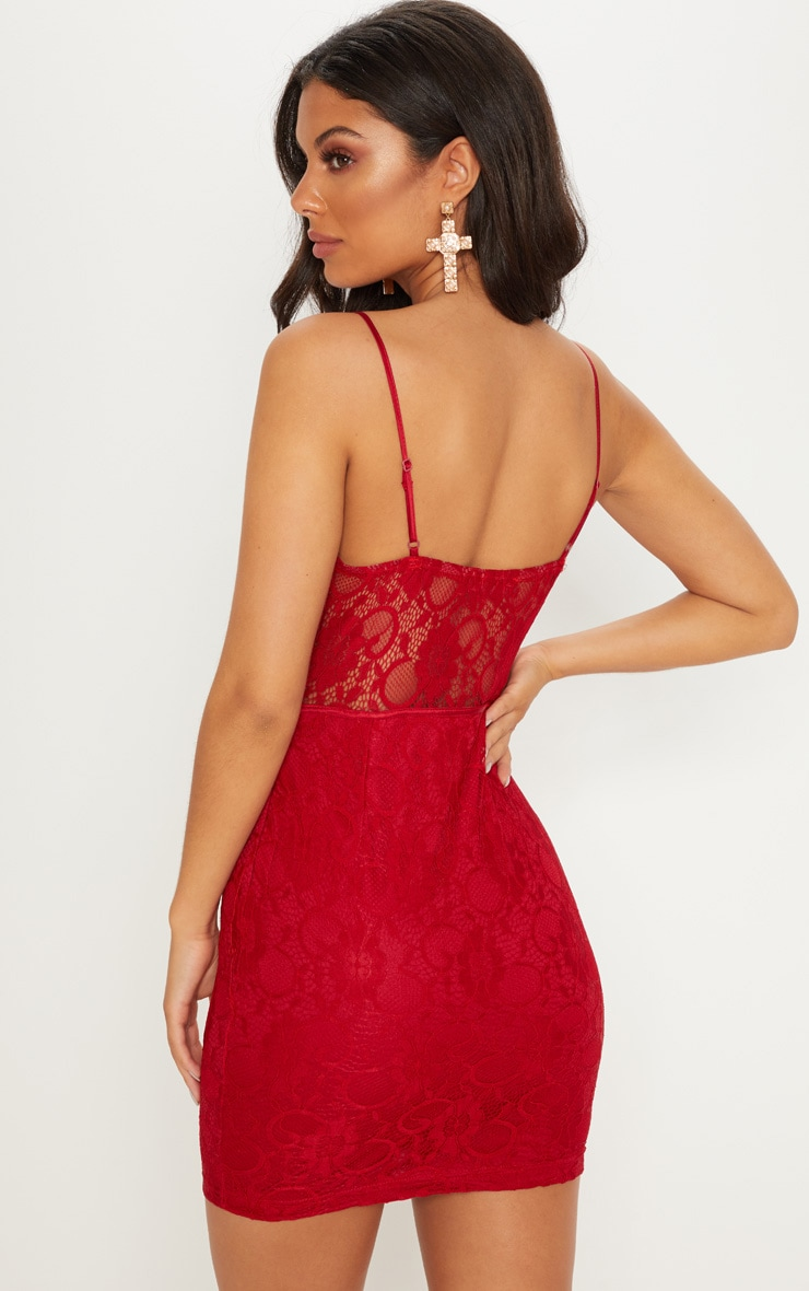 Burgundy Lace Strappy Satin Insert Bodycon Dress  2