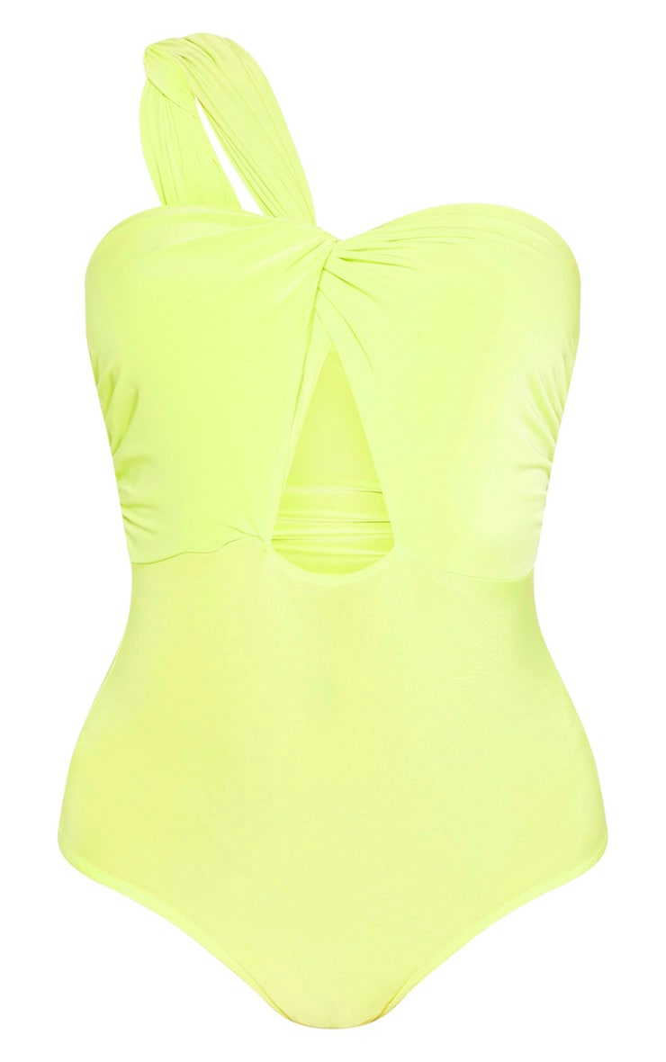 Neon Lime Slinky One Shoulder Bodysuit  3