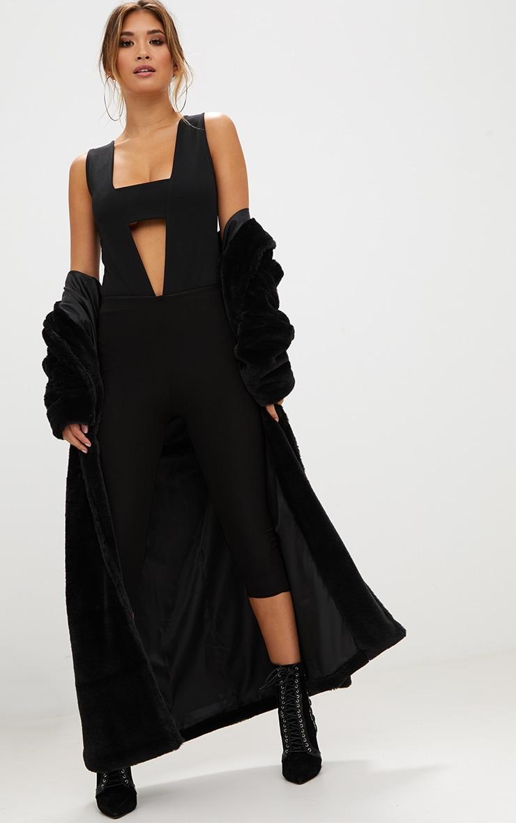 Black Plunge Cut Out Thong Bodysuit 5