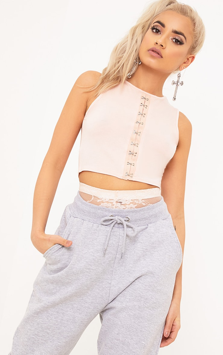 Noley Nude Jersey Hook and Eye Sleeveless Crop Top 1