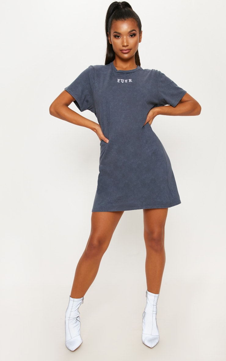 Charcoal Ever Embroidered Washed T Shirt Dress 1