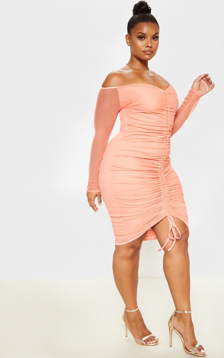 Plus Peach Mesh Ruched Bardot Midi Dress  4