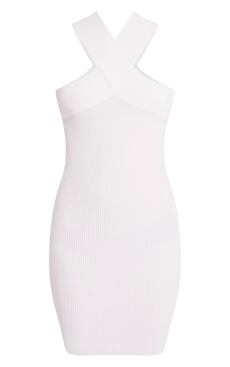Aramiah Cream Ribbed Knit Body Con Mini Dress 3