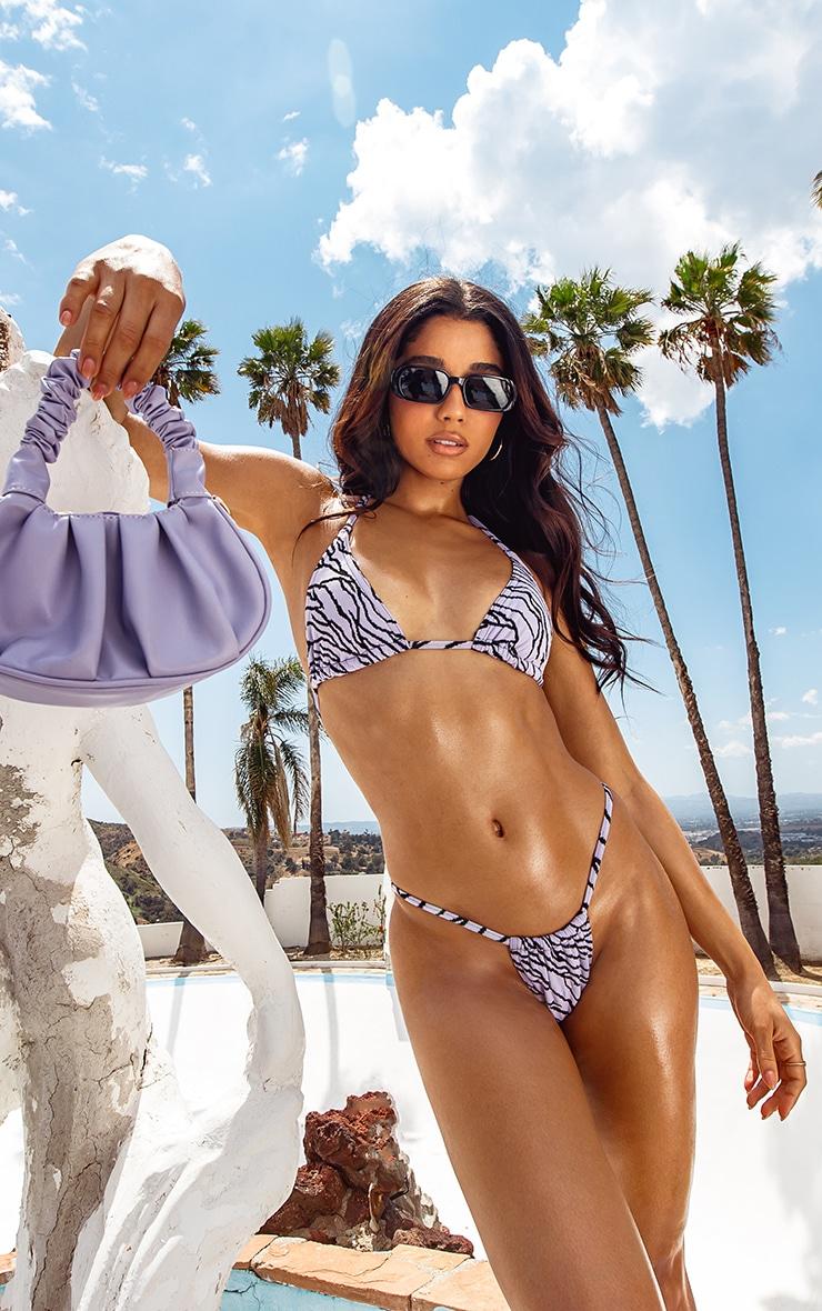 Lilac Zebra Texture Mini Triangle Bikini Top 1