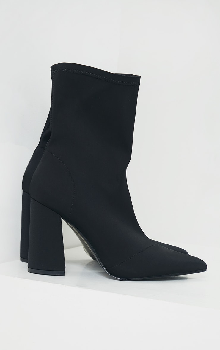 Black Wide Fit Block Heeled Point Toe Sock Boots 4