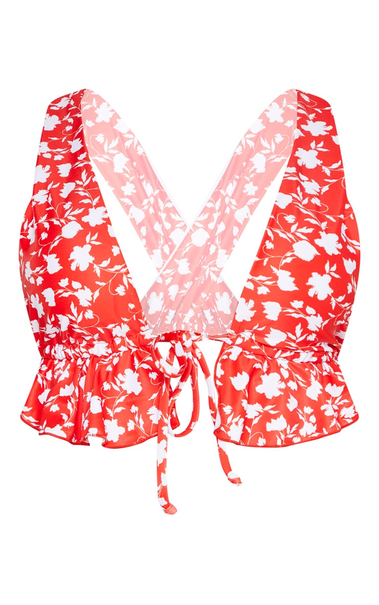 Red Floral Tie Front Frill Plunge Bikini Top 3