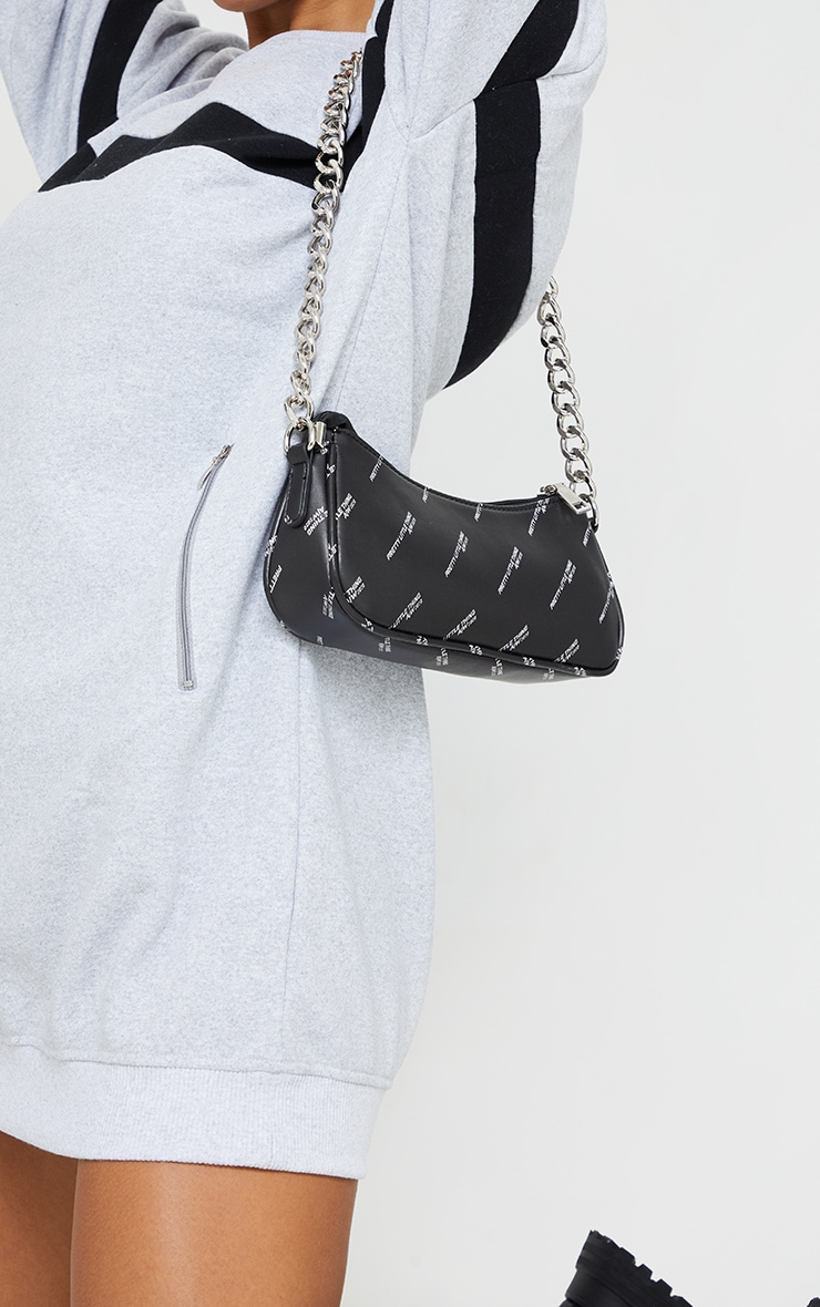 PRETTYLITTLETHING Black With Silver Chain Shoulder Bag 2