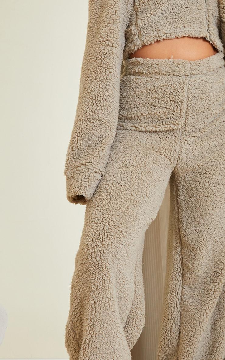 Petite Sage Green Soft Borg Wide Leg Pocket Detail Joggers 4