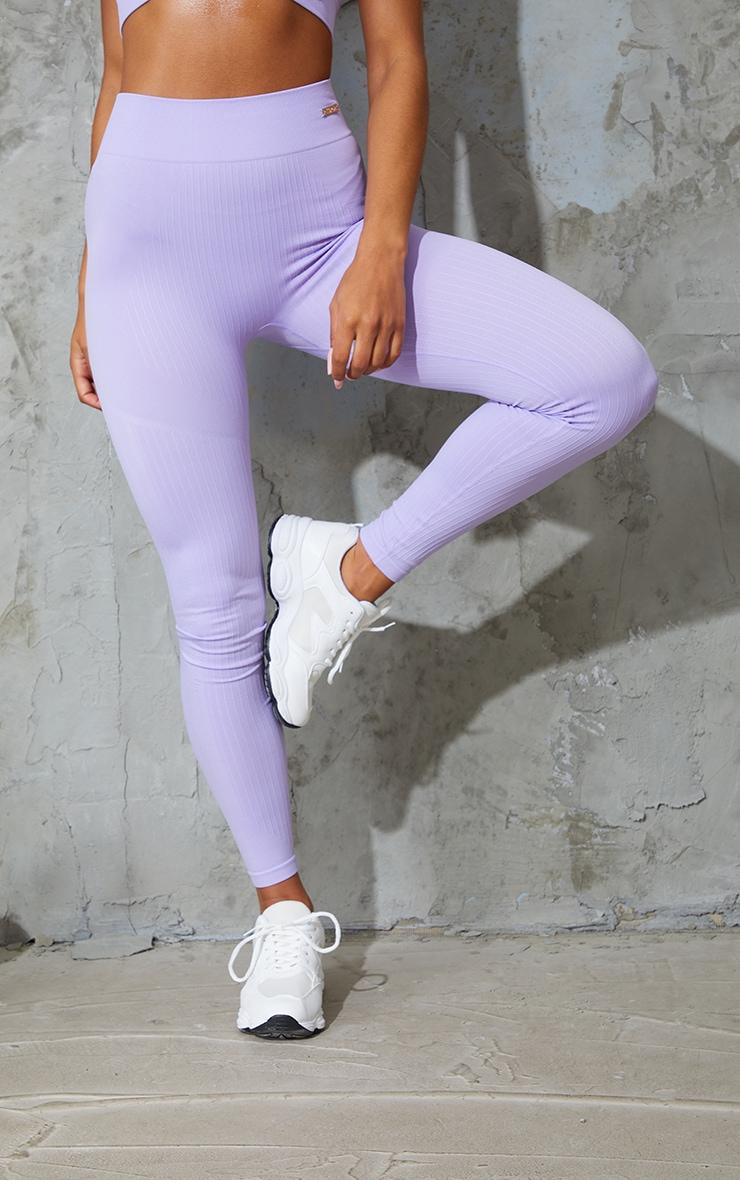Lilac Seamless Rib High Waisted Gym Leggings 2