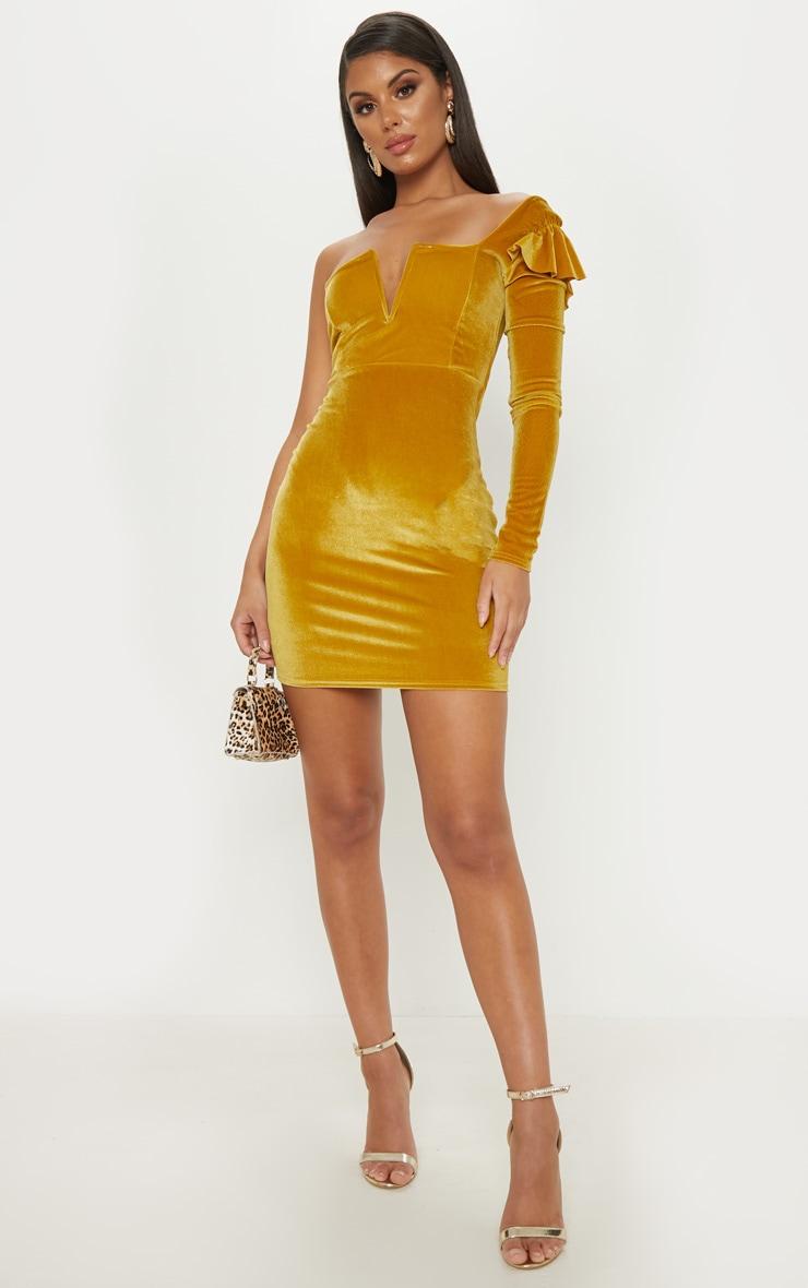 Mustard Velvet Plunge One Shoulder Bodycon Dress 1