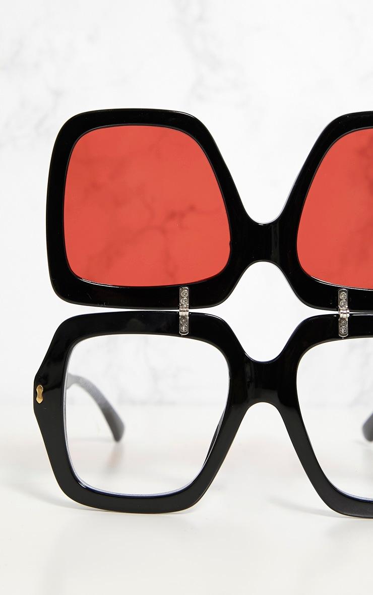 Red Lensed Chunky Flip Up Sunglasses 6