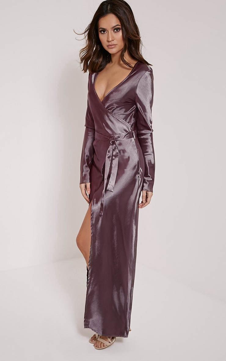 Aileen Purple Wrap Front Tie Waist Maxi Dress 4