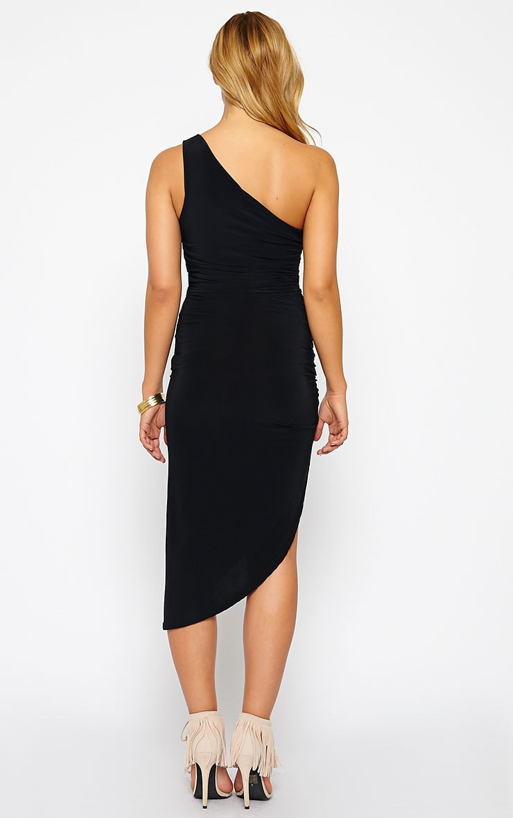 Lourdes Black One Shoulder Side Ruched Dress 2
