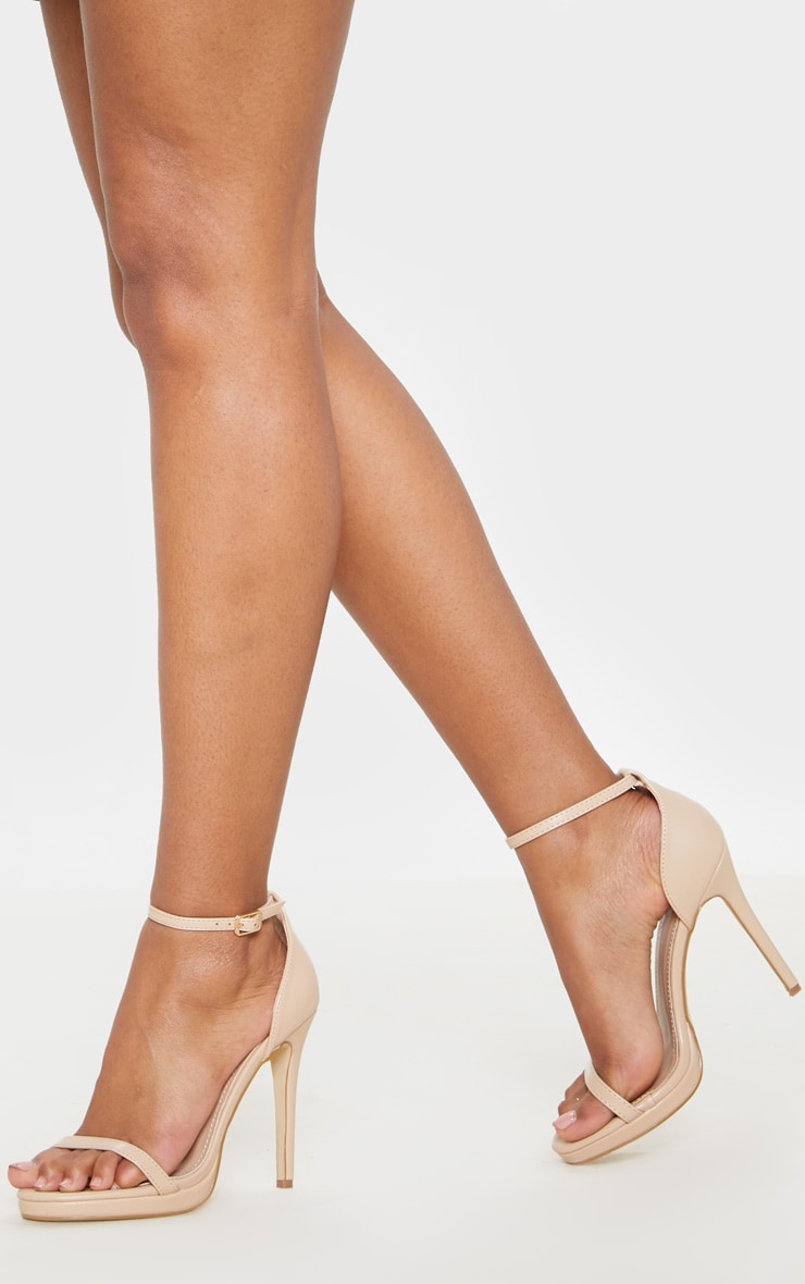 Enna Nude Single Strap Heeled Sandals 1