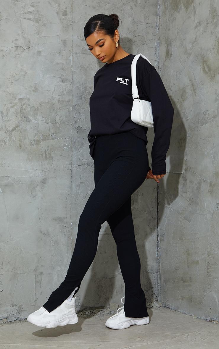 Black Textured Ribbed Split Hem Leggings 1