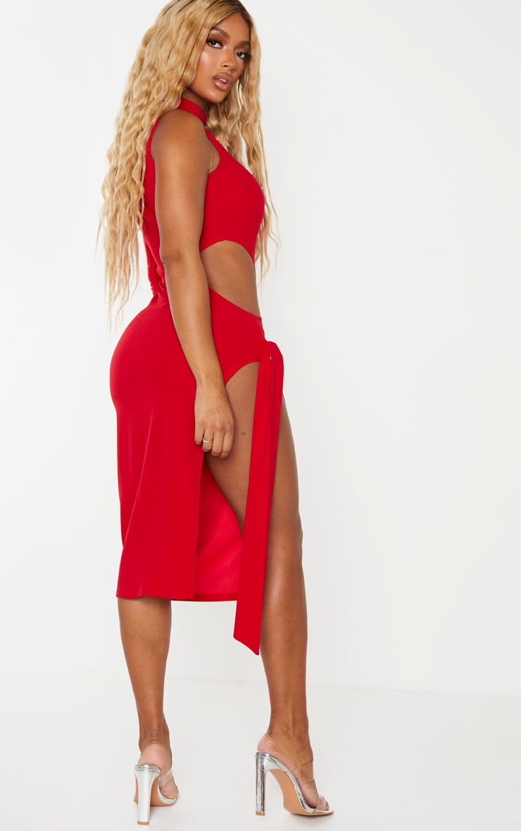 Shape Red One Sleeved Cut Out Tie Side Midi Dress 2